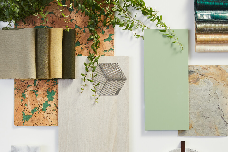 Ahrend Moodboard with green and grey samples top view