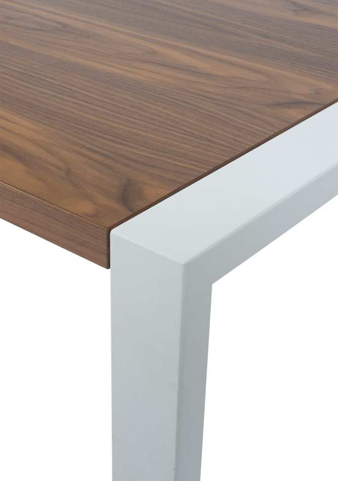 Royal Ahrend Portal table in white with walnut tabletop front right detail view