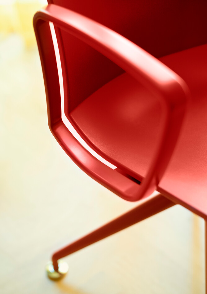 Royal Ahrend Well trestle base chair in red at Kvadrat store in Amsterdam L1000710